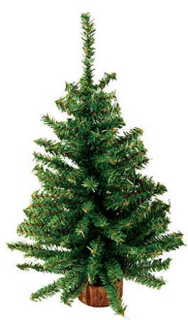Darice DS-6359 18-Inch Canadian Tree with 124 Tips with Wood Base, Mini