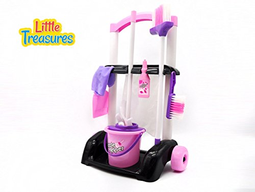 Little-Treasures-Little-Helper-8-Piece-Kids-Pretend-Play-CleaningTrolley-Playset-for-Ages-3-and-up
