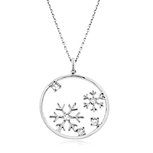 White Sapphire Snowflakes Pendant in Sterling Silver with Chain