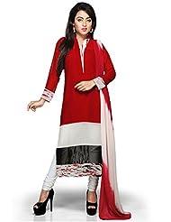 Utsav Fashion Women's Red, Off White And Black Faux Georgette Readymade Churidar Kameez-Medium