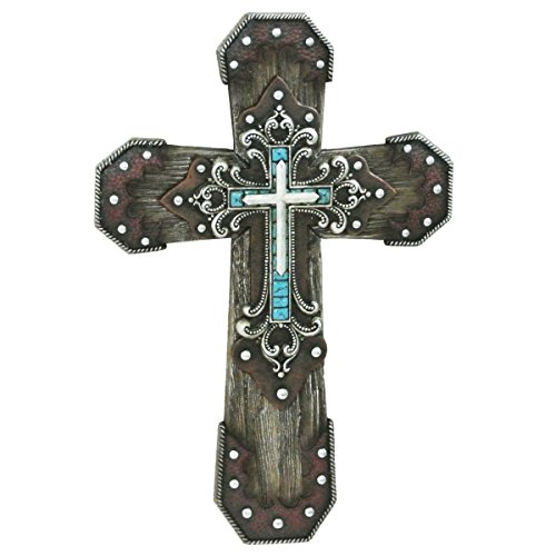 CROSS IN LAYERED STUDS WITH TURQUOISE ACCENT