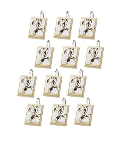 Creative Bath Set of 12 Floral Design Shower Curtain Hooks, Multi As You See