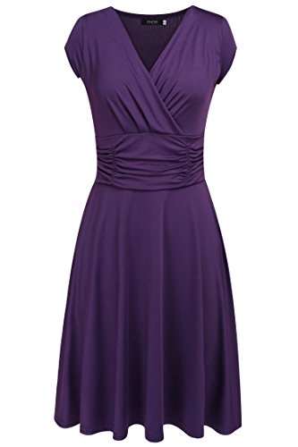 Finejo Women's V-Neck Casual Vintage Ruched Waist Cocktail Swing Party Dress Purple Medium