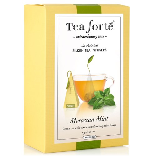 Tea Forte Gourmet Pyramid Box Tea Infusers - Moroccan Mint - 6ct
