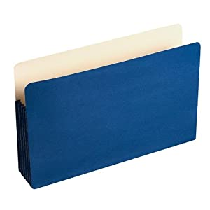Wilson Jones ColorLife File Pocket, Moisture/Tear Resistant, 5 1/4-Inch Expansion, Legal Size (9.5-Inch x 14.75-Inch), Dark Blue, 10 per box (WCC76BL)