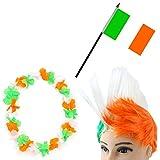 Sonia Originelli Fanpaket Hawaiikette Perücke Fahne Flagge Irland Ireland grün orange weiss IRL-SET-4-IRO