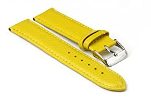 StrapsCo Yellow Textured Grain Leather 16mm Watch Strap