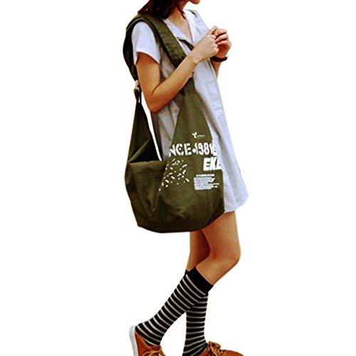 Donne Crossbody Spalla Borsa di tela, WITERY Casual Borsa grande a tracolla borsa a tracolla/borsa/Shopper Borse/Borse da viaggio/borsa a tracolla/Tracolla Borse per donna, Army Green (verde) - CLOA0002-02
