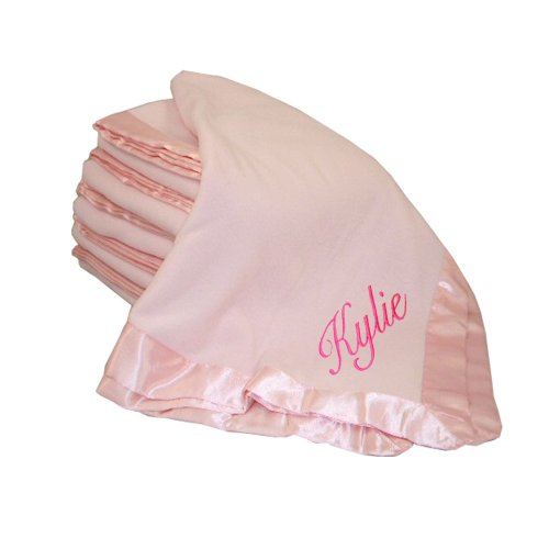 Custom Embroidered Monogrammed Name Pink Fleece Personalized Baby Blanket Yellow Thread front-1062429