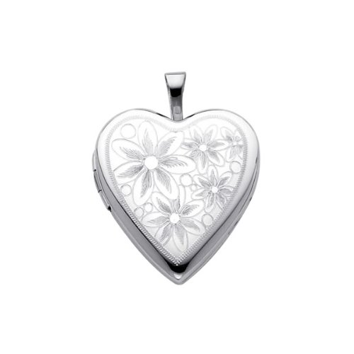 Sterling Silver Flower Engraved Heart Locket Pendant (0.8