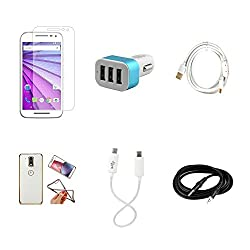 High Quality Combo of Moto G3 Temper Glass + Car Charger 3 USB + Fast Charging Cable + Attractive Back Cover (Transparent Back with Golden Border) + Android to Android Charging Cable