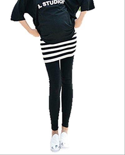 (ファッションデイズ) fashiondaysマタニティ ひざ丈 スカート 付き スウェット レギンス マタニティー ウェア ボーダー L