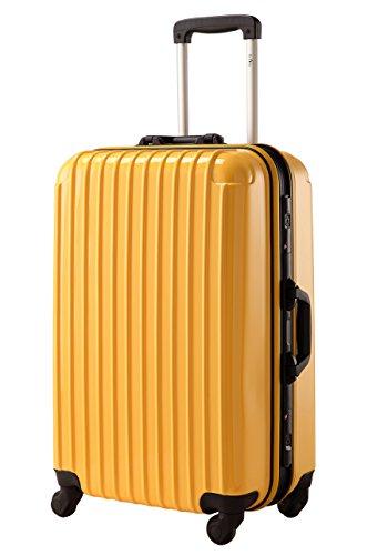 TSAロック搭載 スーツケース 超軽量 フレーム開閉式 ミラー加工キャリーバッグ 6色3サイズ 【一年修理保証】 Travelhouse(トラベルハウス) (S, イエロー)