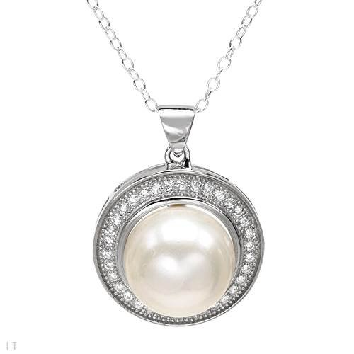 Sterling Silver Pearl and 0.68 CTW Cubic Zirconia Ladies Necklace. Length 18 in. Total Item weight 5.6 g.