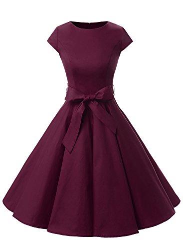 Dressystar Vintage 1950s Polka Dot and Solid Color Prom Dresses Cap-sleeve XL Burgundy