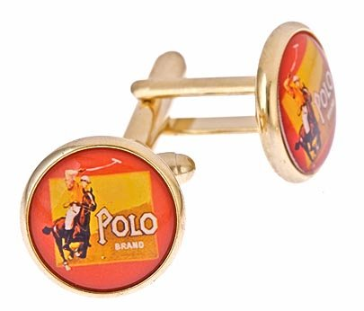 Gold plated polo player cufflinks with presentation box. Made in the U.S.A