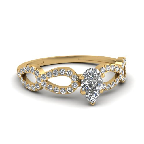 Fascinating Diamonds Pave Set Infinity Design Engagement Ring 0.70 Ct Pear Shaped Si1-H Diamond Gia