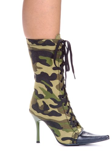 E-457-Camo, Ankle Boots with 4.5 in heel 10 Green