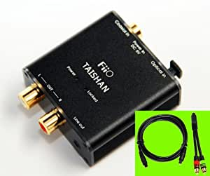 FIIO D3 (D03K) Digital to Analog Audio Converter with SMI Gold Plated 6ft Optical TOSLink Cable and RCA-to-3.5MM Audio Cable- 192kHz/24bit Optical and Coaxial DAC