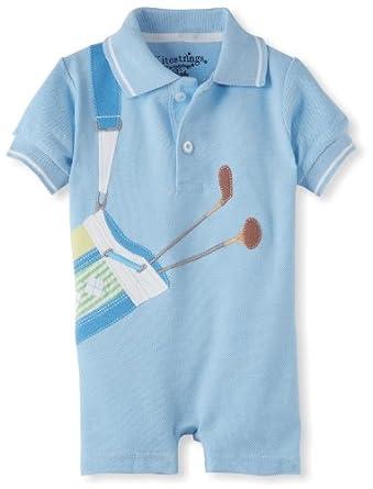 Kitestrings Baby-Boys Newborn Pique Golf Romper, Sky Sulphur, 6-9 Months