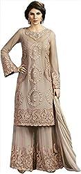Shine Kreations Women's Georgette & Net Unstitched Salwar Suit (S-12, Beige)