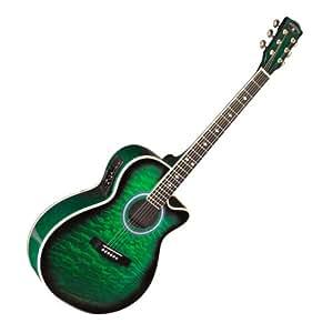 quilt top green acoustic electric guitar musical instruments. Black Bedroom Furniture Sets. Home Design Ideas