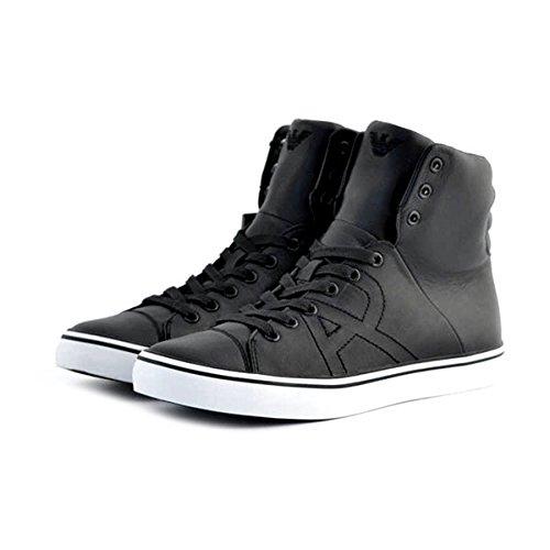Scarpe sneakers alte Armani Jeans da uomo in pelle liscia nera, stringata, 42