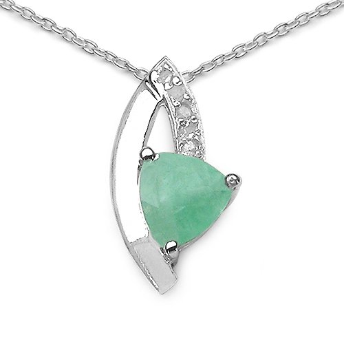 0.70 Carat Genuine Emerald and 0.12 CT TDW Genuine Diamond 925 Sterling Silver Pendant
