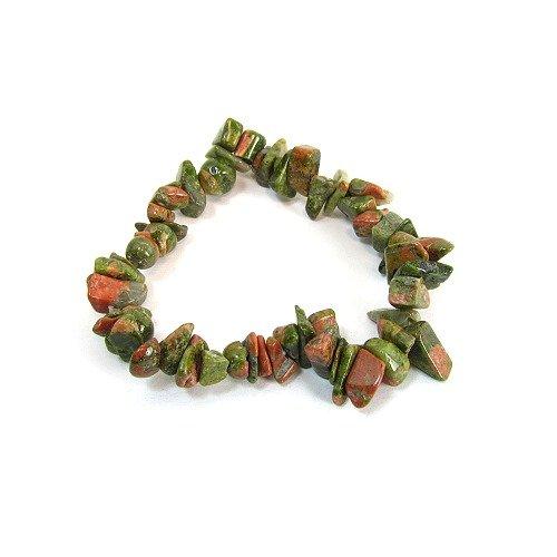 Unakite Polished Chip Single Strand Woven Stretch Bracelet