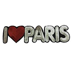 Ching Ching Shining Sequin DIY Novelty Applique Patches (Iron-on or Sewing) (I Love Paris (H7xW26cm))