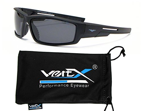 VertX Men's Polarized Sunglasses Sport Cycling Outdoor w/ Free Microfiber Pouch - Black Frame - Smoke Lens (Gas Can Sunglasses compare prices)