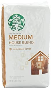 Starbucks Whole Bean Coffee House Blend, 12 Ounce (Pack of 6)
