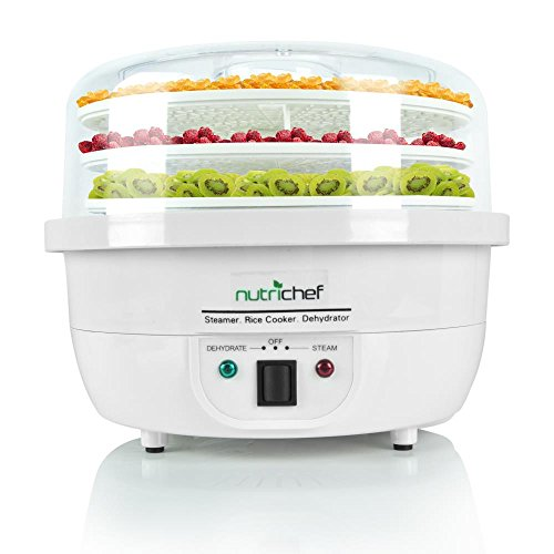 NutriChef 3-in-1 Food Dehydrator & Steamer Cooker - Electric Kitchen Dehydrator - Jerky Maker - Dried Fruits -Steam Rice White color (PKFDSRC10WT) (3 Tier Electric Steamer compare prices)