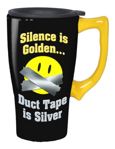 Spoontiques Silence Is Golden Duct Tape Travel Mug, Black