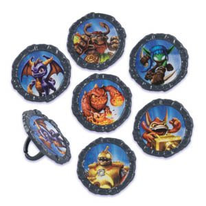 12 Skylanders Cupcake Plastic Rings Party Favors