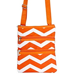 World Traveler Orange Chevron Small Hipster Cross-Body Bag