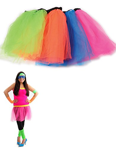 Retro 80s Colorful Neon Assorted Color Tu Tu Tutu Skirt 4 Pack Costume Accessory