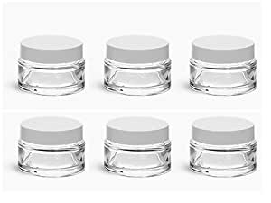 JUVITUS Clear Glass 0.25 Oz Thick Wall Balm Jars With White Foam Lined Smooth Lids