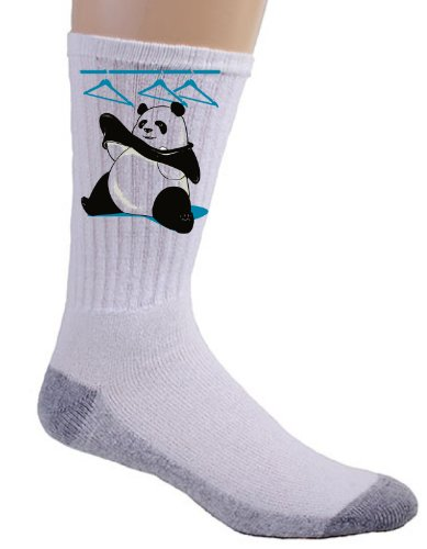 """Outfit"" Funny Panda Bear Trying to Put on Clothes Logo - Crew Socks"