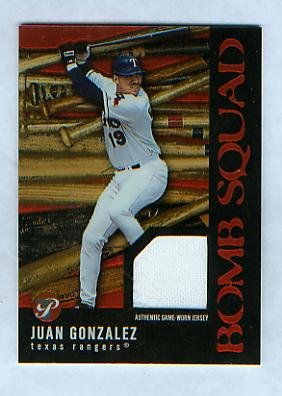 Juan Gonzalez 2003 Topps Pristine Baseball Bomb Squad Game Worn Jersey Card #PBS-JAG Texas Rangers at Amazon.com