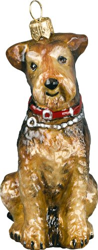The Pet Set Blown Glass European Dog Ornament By Joy To The World Collectibles – Airedale Terrier Red Collar