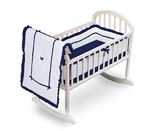 Baby Doll Unique Cradle Bedding Set, Navy