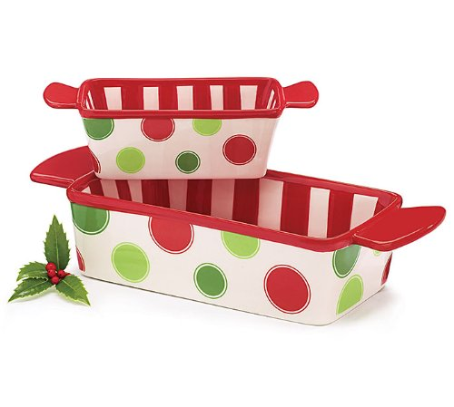 Set of 2 Christmas Loaf Pans/Dishes Festive Sturdy Holiday Bakeware