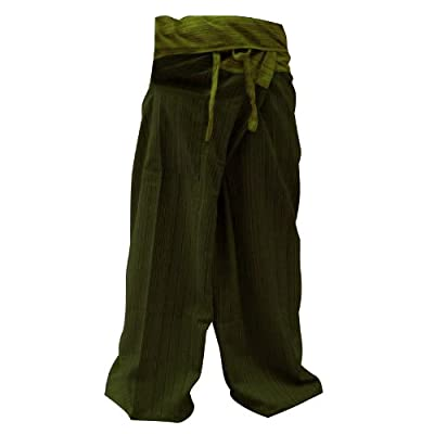2 Tone Thai Fisherman Pants Yoga Trousers Free Size Plus Size Cotton Drill Olive Green Stripe By Hugdethailand from Thailand