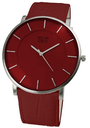 Davis - Montre Design Unisex Rouge - Quartz - Boîte Extra plate - Bracelet en Cuir Rouge