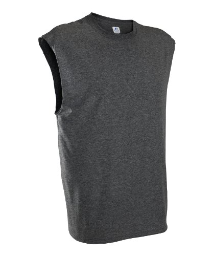 Russell Athletic Men's Athletic Sleeveless Tee, Black Heather, Small