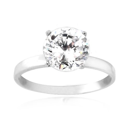 Sterling Silver 2ct Round CZ Bridal Engagement Ring