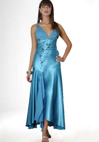 Formal Evening Gown. Beaded Dress for Prom, Party Dress by Sean Collection (8873) TEAL