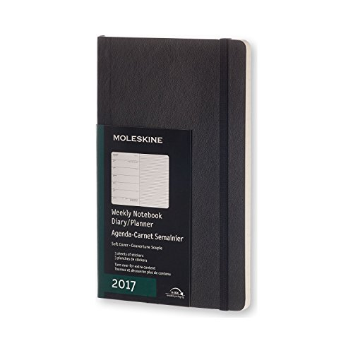 Moleskine 2017 Weekly Notebook, 12M, Large, Black, Soft Cover (5 x 8.25)