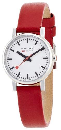 Mondaine - Reloj de mujer de cuarzo, correa de piel color rojo